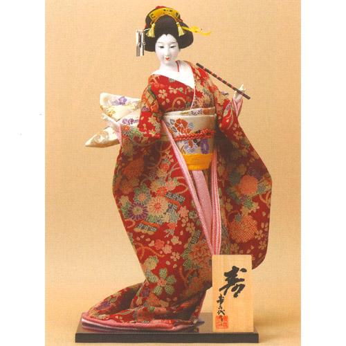 日本人形 尾山人形『寿喜代作 寿 ちりめん 笛 12号』