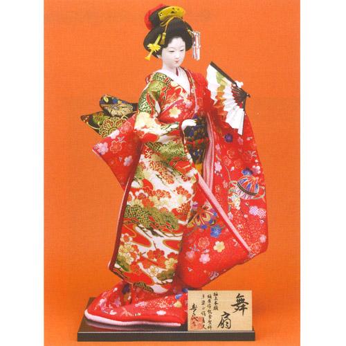 日本人形 尾山人形 極上本頭『寿喜代作 舞扇 友禅 扇 12号』