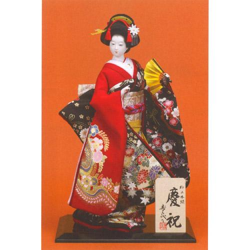 日本人形 尾山人形 極上本頭『寿喜代作 慶祝 衣裳金彩 扇 8号』