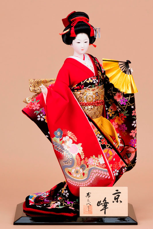 日本人形 尾山人形 極上本頭『寿喜代作 京峰 正絹 扇 10号』
