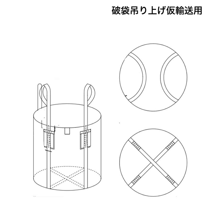 フレキシブルコンテナバッグ W1400 破袋吊り上げ仮輸送用(10枚)大型土のう袋 土嚢袋 トンバッグ
