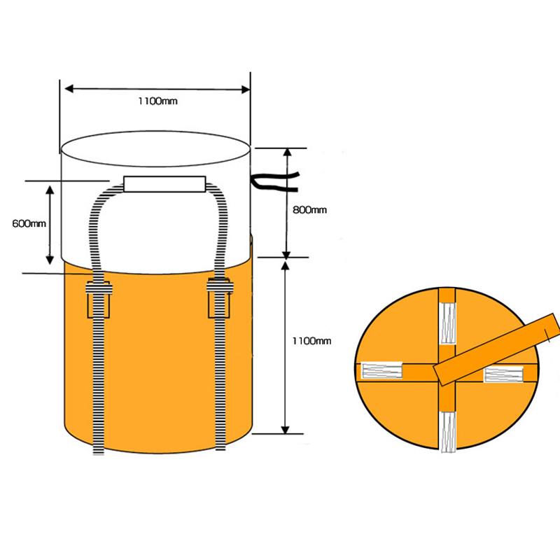 フジテックス フレコンバックフレキシブルコンテナバッグ Aタイプ (100枚入り) 耐荷重1t (反転ベルトあり・UVあり) 大型土のう袋 土嚢袋 トンバッグ