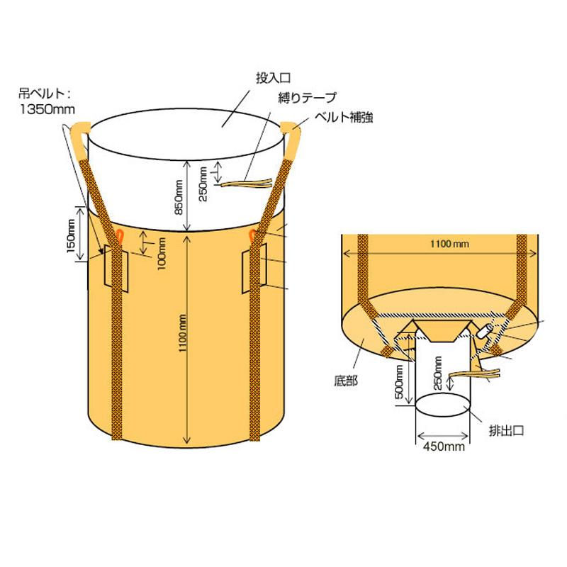 フレコンバッグ フレキシブルコンテナバッグ Fタイプ 排出口小口 (100枚入り) 耐荷重1t 丸型 直径1100×1100mm 大型土のう袋 トンバッグ