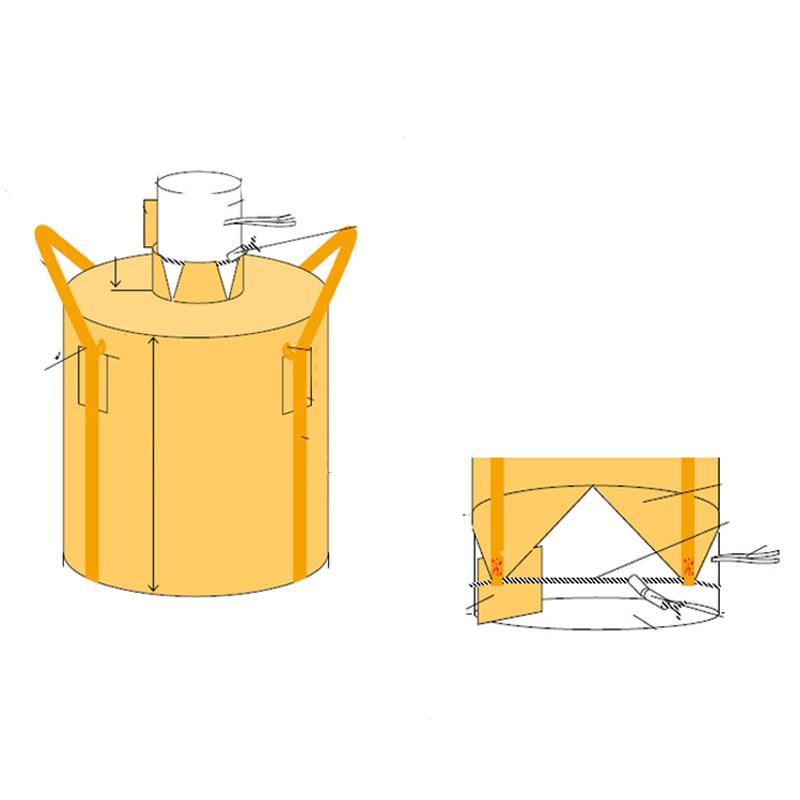 フレコンバッグ フレキシブルコンテナバッグ Dタイプ 投入口/小口・排出口/全開 (200枚入り) 耐荷重1t 丸型 直径1100×1100mm 大型土のう袋 トンバッグ