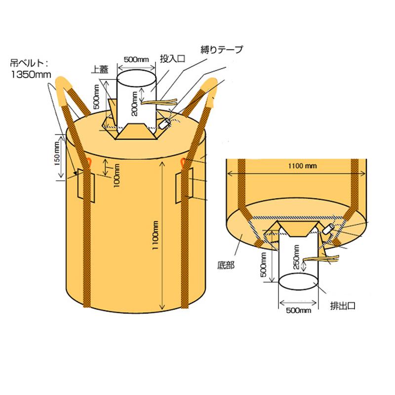 フレコンバッグ フレキシブルコンテナバッグ Eタイプ 投入口/小口・排出口/小口 (100枚入り) 耐荷重約1000キロ 直径1100×1100mm 丸型 大型土のう袋 トンバッグ