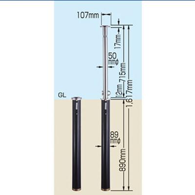 車止めガードナー 鍵付 50mmφ×高さ715mm (1本)