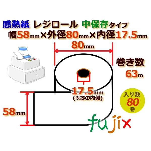 レジロール 感熱紙(中保存)幅58mm 外径80mm×内径17.5mm 80巻/ケース RH588017