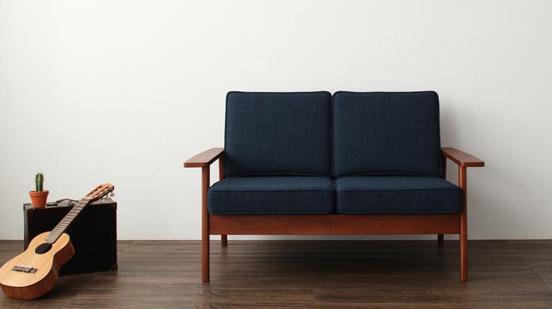 【送料無料】天然木シンプルデザインソファ〔RUS〕ラス 2人掛け グレー【代引不可】