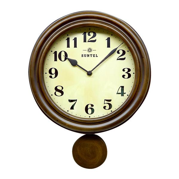 日本製 レトロ電波振り子時計 アンティークブラウン DQL669【代引不可】【北海道・沖縄・離島配送不可】