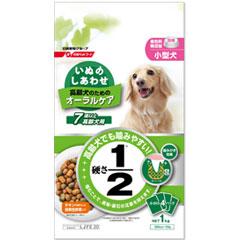 日新宠物食品狗干 1 公斤 (小 4 包) 超过 7 岁高级狗老狗的狗食物口腔护理幸福