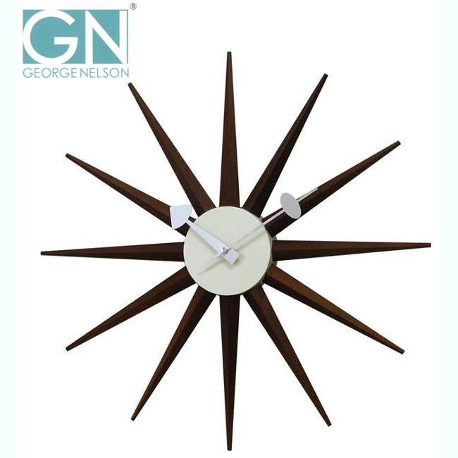 【送料無料】George Nelson ジョージ・ネルソン 壁掛け時計 サンバースト・クロック ウォルナット GN396WB【代引不可】