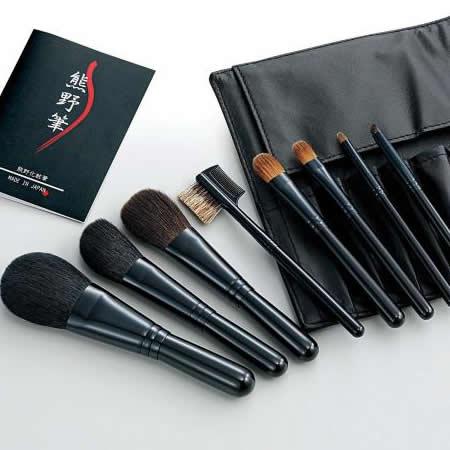 【送料無料】Kfi-K508 熊野化粧筆セット 筆の心 ブラシ専用本革ケース付き【代引不可】