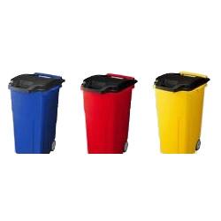 【送料無料】移動できる4輪キャスター付きゴミ箱 キャスターペール 90C4 R・レッド【代引不可】