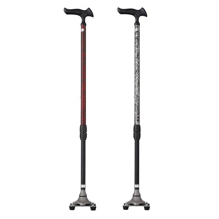 【送料無料】(非課税) フジホーム 杖 かるがも4ポイントステッキ  バーズアイシルバー・WB3828【代引不可】