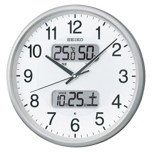 (まとめ買い)セイコー 温湿度計カレンダー付電波アナログ掛時計 KX383S 00023216 〔3個セット〕【北海道・沖縄・離島配送不可】