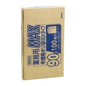 (まとめ買い)ジャパックス 業務用MAX 90L半透明100枚BOX SB93 00073755 〔×3〕