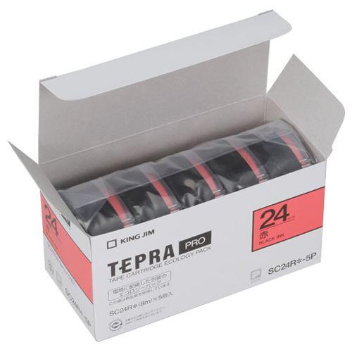 (まとめ買い)キングジム PROテープエコパックカラーラベル(赤) SC24R-5P 00006579 〔×3〕【北海道・沖縄・離島配送不可】