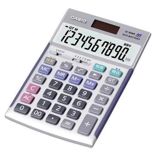 【送料無料】(まとめ買い)カシオ カシオジャスト型電卓 JS-10WK 00053172 〔3台セット〕