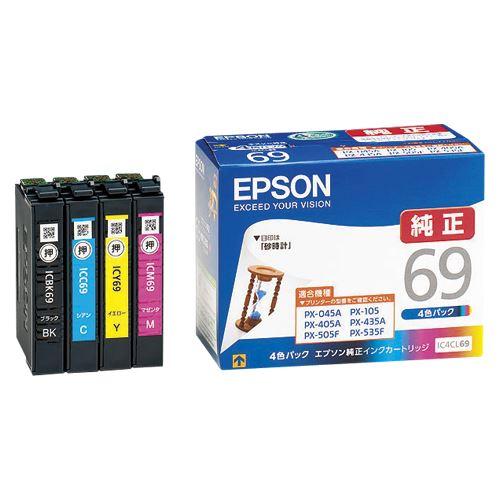(まとめ買い)エプソン インクカートリッジ 4色パック IC4CL69 00016338 〔×3〕【北海道・沖縄・離島配送不可】