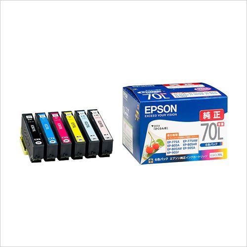 (まとめ買い)エプソン インクカートリッジ 6色パック〔増量〕 IC6CL70L ゾウリョウ 00016332 〔×3〕【北海道・沖縄・離島配送不可】