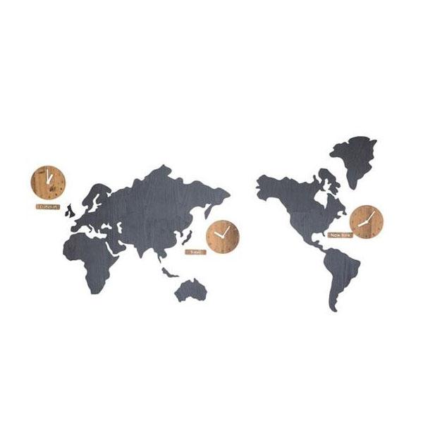 ハンドメイド mo:ro 掛け時計  World Time MONO(世界時計) ブラウン