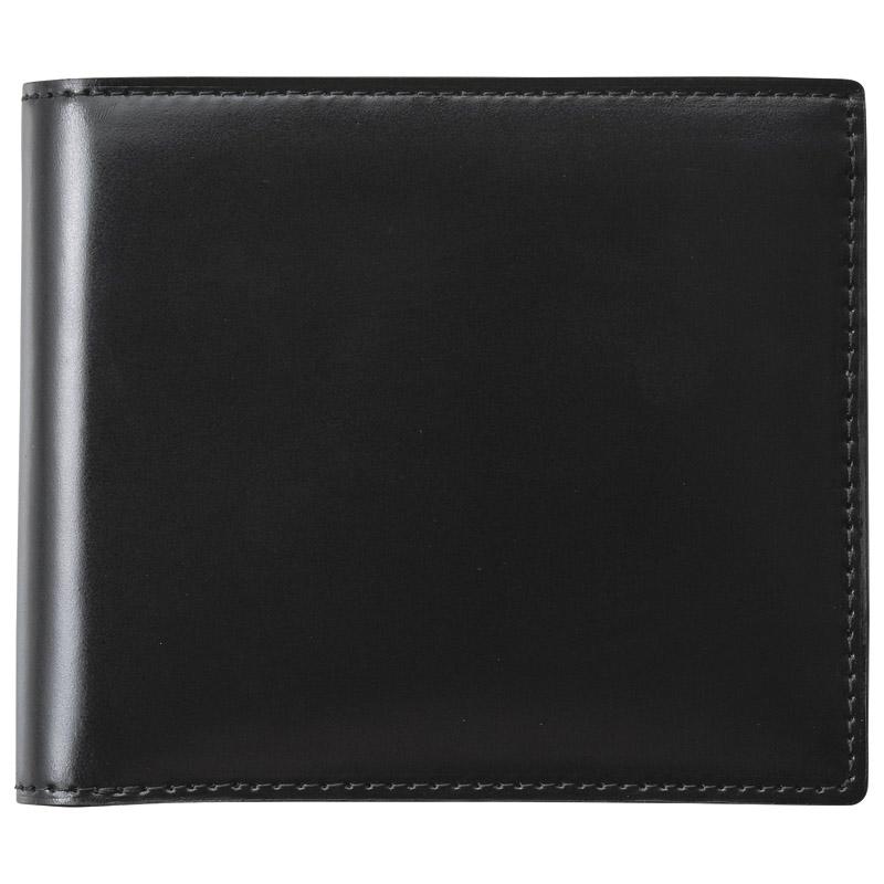 【送料無料】〔ギフト〕[エルシオン] コードバン二つ折 財布 S-NOM153102BK BK ブラック【代引不可】