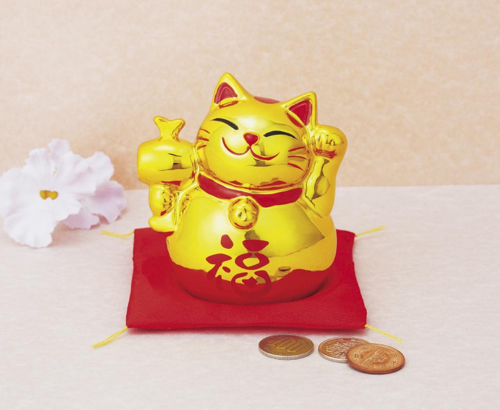 【送料無料】招福金のまねき猫貯金箱 JM-480 〔まとめ買い60個セット〕 〔色・柄お任せ〕【代引不可】
