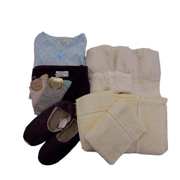 【送料無料】急な入院に!! 入院用衣類12点セット ブルー Lサイズ【代引不可】