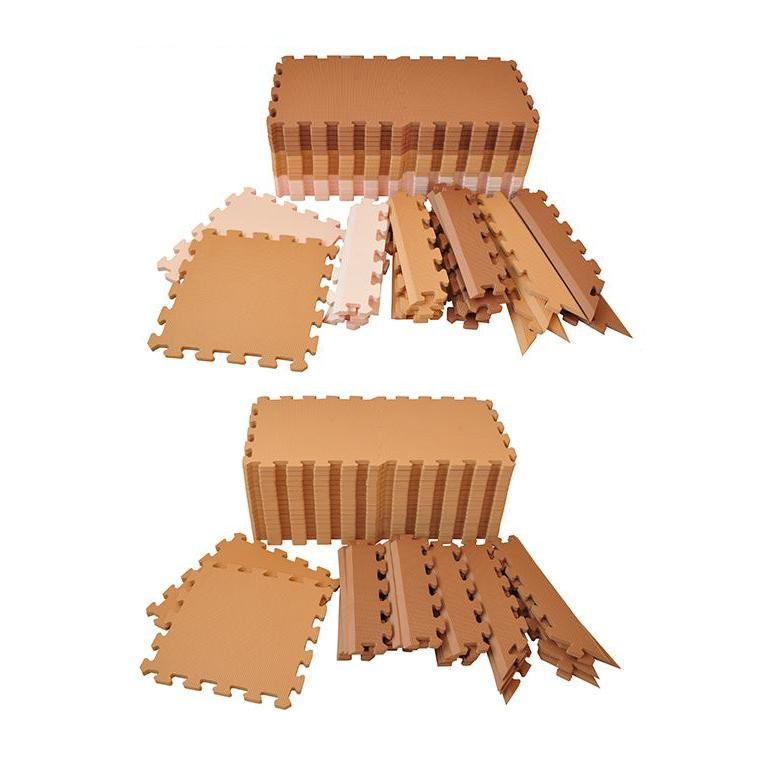 リトルプリンセス 抗菌加工 フロアーマット(ジョイントマット) 195cm×195cm(約2畳分) カフェ・コンビネーション【代引不可】