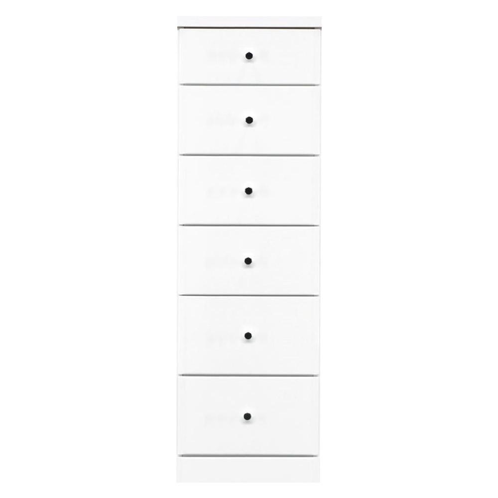【送料無料】ソピア サイズが豊富なすきま収納チェスト ホワイト色 6段 幅37.5cm【代引不可】