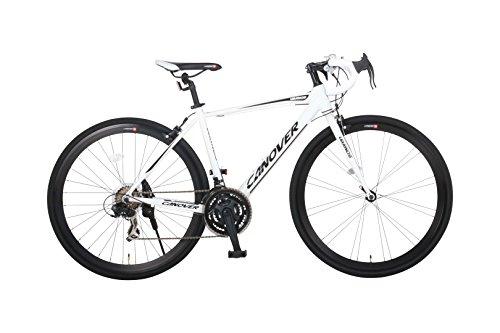 【送料無料】カノーバー ロードバイク 700C シマノ21段変速 CAR-015(UARNOS) アルミフレーム フロントLEDライト付 ホワイト【代引不可】