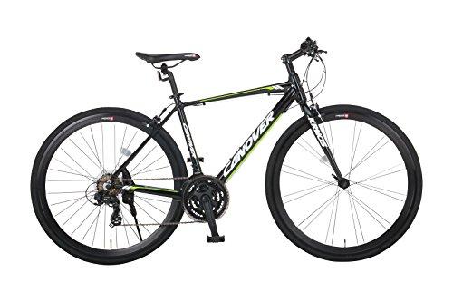 【送料無料】カノーバー クロスバイク 700C シマノ21段変速 CAC-028(KRNOS) アルミフレーム フロントLEDライト付 ブラック【代引不可】