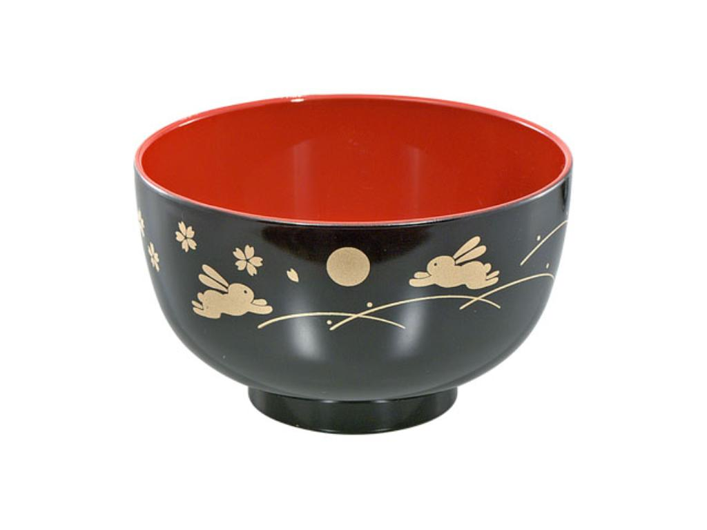 Japan Wakasa Tanaka chopsticks shop moon rabbit DX bowl black [ten sets of bulk buyings] made in Japan 046327