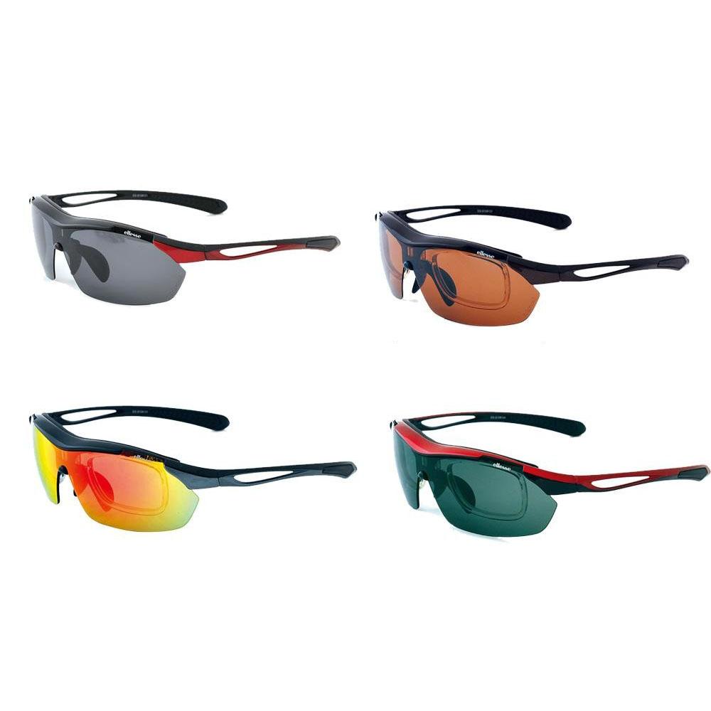 【送料無料】ellesse エレッセ レンズ交換式1眼タイプ スポーツサングラス ES-S108 ブラック×レッド【代引不可】