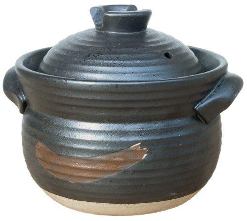 【送料無料】リビング 炊飯土鍋 ごはんや讃 黒 3合炊き 〔まとめ買い8個セット〕【代引不可】