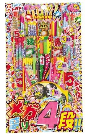 メガ盛り4段!! (花火) 〔まとめ買い10個セット〕【代引不可】【北海道・沖縄・離島配送不可】