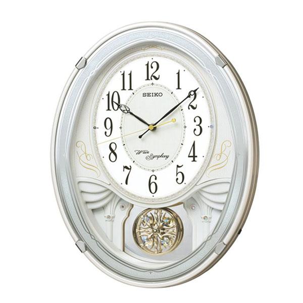 【送料無料】SEIKO セイコークロック 電波クロック アミューズ掛時計 ウエーブシンフォニー AM258W【代引不可】