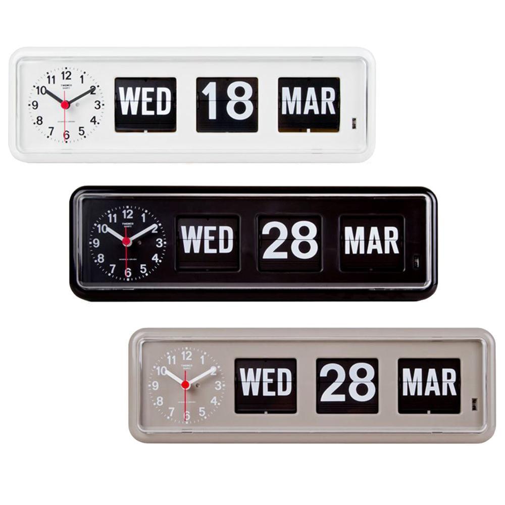 TWEMCO(トゥエンコ) 置き・掛け兼用 パタパタカレンダー時計 BQ-38 ホワイト【代引不可】【北海道・沖縄・離島配送不可】