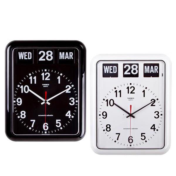 TWEMCO(トゥエンコ) 掛け時計 パタパタカレンダー時計 BQ-12A ホワイト【代引不可】【北海道・沖縄・離島配送不可】
