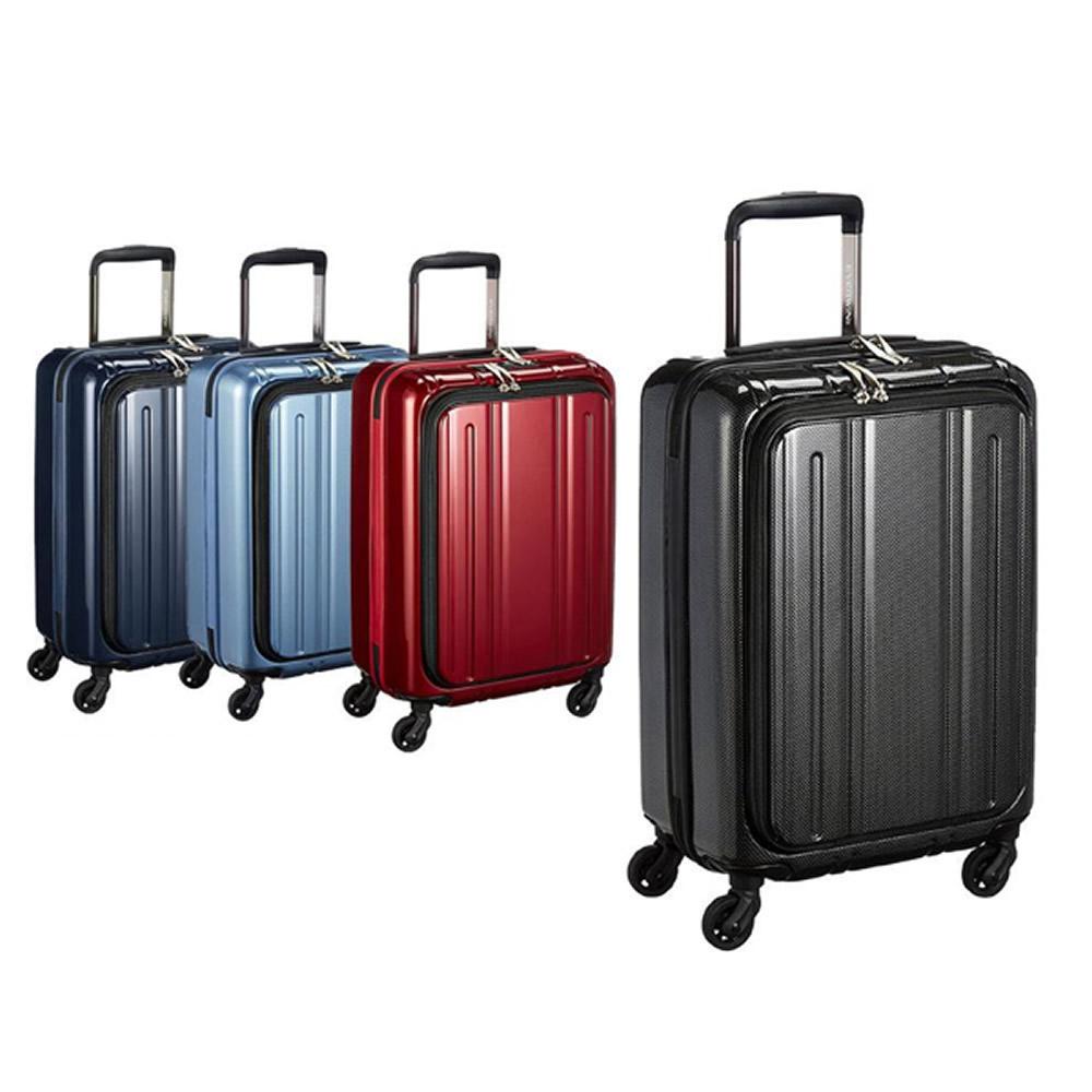 【送料無料】EVERWIN(エバウィン) 157センチ以内 超軽量設計 スーツケース Be Light フロントオープン 48cm 33L 31240 ブラックカーボン【代引不可】
