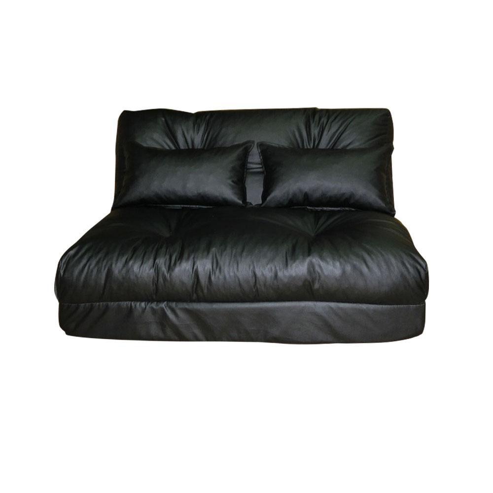 【送料無料】四つ折れソファーベッド ブラック クッション2個付き SY670G【代引不可】