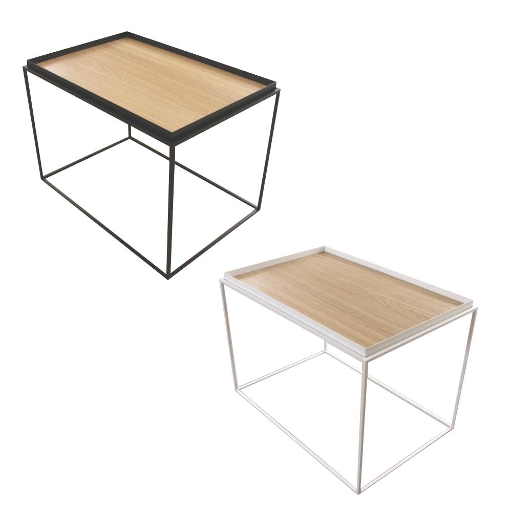 【送料無料】トレイテーブル サイドテーブル 600×400mm ナラ突板 ホワイト・HWN-046【代引不可】