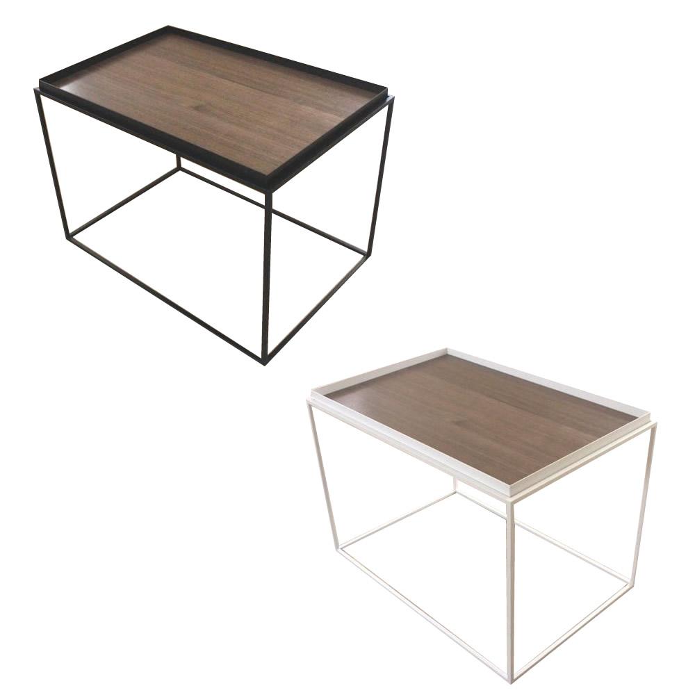 【送料無料】トレイテーブル サイドテーブル 600×400mm ウォールナット突板 ホワイト・HWW-047【代引不可】