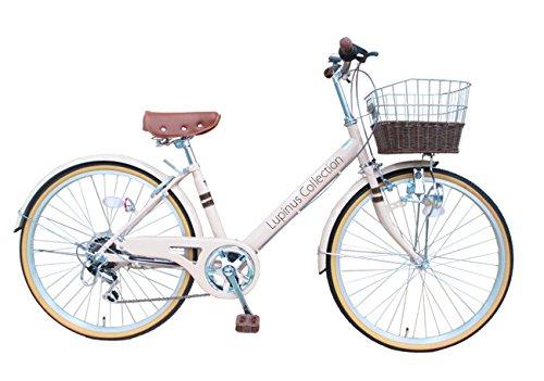 【送料無料】Lupinusルピナス 自転車 24インチ LP-246VD-MT シティサイクル Vフレーム 籐風カゴ ダイナモライト 100%完成車 ミルクティー【代引不可】