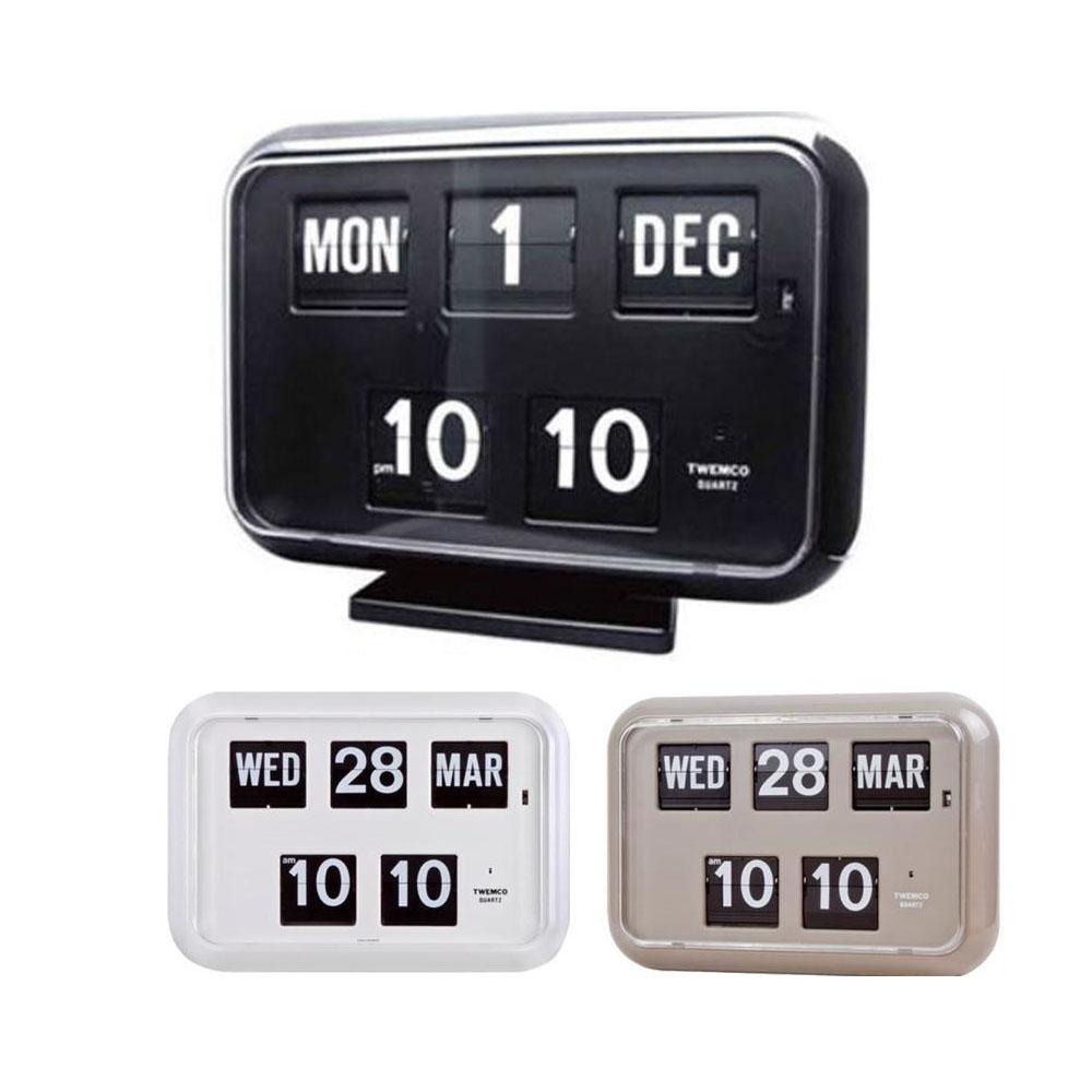 TWEMCO(トゥエンコ) 置き・掛け兼用 パタパタカレンダー時計 QD-35 ホワイト【代引不可】【北海道・沖縄・離島配送不可】