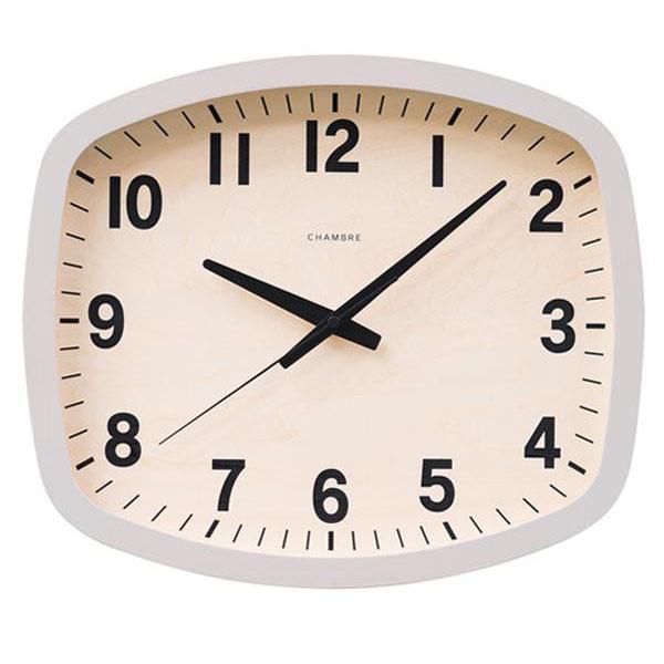 日本製 CHAMBRE R-SQUARE CLOCK スクエアクロック 掛け時計 NATURAL・CH-028BC【代引不可】