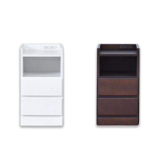 ナイトテーブル エッセ W32.5 DBR・ダークブラウン【代引不可】