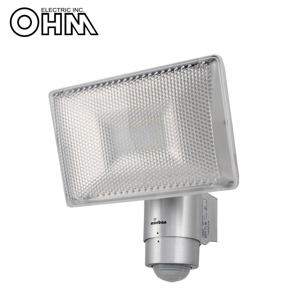 OHM monban LED 家庭用100V電源 センサーライト シルバー LS-A1134B-S【代引不可】