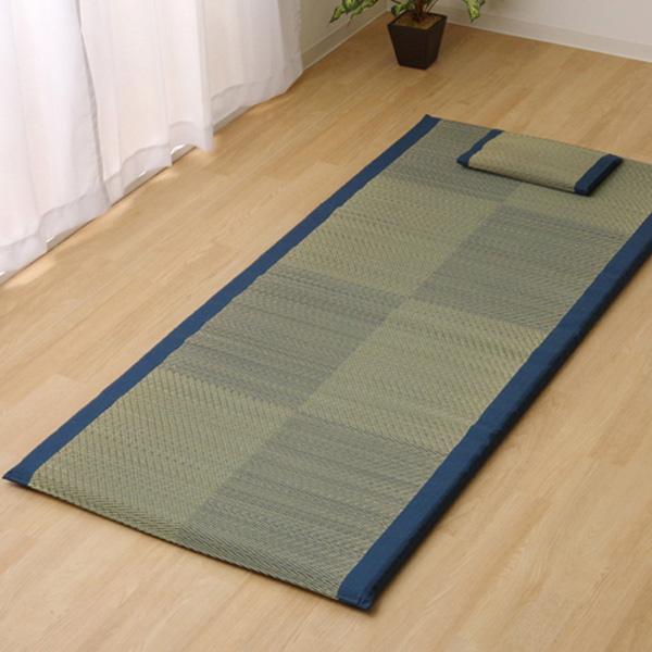 純国産 い草ごろ寝マット い草枕付き 『ノア40らくらく』 ブルー シングル 7530340 【代引不可】