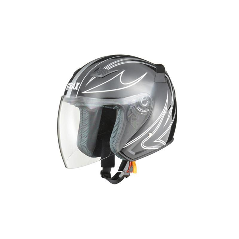 リード工業 STRAX ジェットヘルメット ブラック Mサイズ SJ-9【代引不可】【北海道・沖縄・離島配送不可】